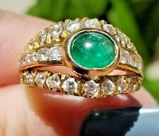 Vintage Top Green Emerald Cabochon VS Diamond 18k yellow gold ring
