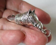 More details for solid sterling silver horse / pony head dog whistle