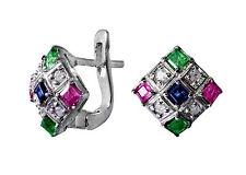 Ohrringe mit Rubinen, Smaragden, Saphiren und Diamanten