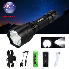 Tactical White 5000lm LED Light USB Flashlight Torch Lamp Rifle Hunt Gun Mount