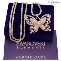 Collana donna oro rosa Swarovski Elements originale G4Love farfalla madreperla