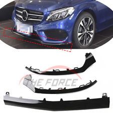 Bright Black Front Bumper Lip Moulding Trim For 14-17 Mercedes-Benz W205 C Class