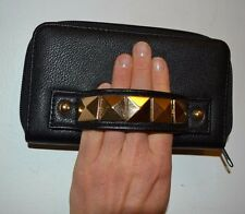 Gold Stud Spike Full zip around wallet clutch style purse Faux Leather