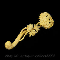"""7.9"""" Chinese Box-wood Hand Carved Bamboo Joint Auspicious Ruyi Exquisite Statue"""