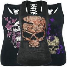 Women Tank Top Skull Print Blouse Vest Gothic Clubwear Singlet Racerback T-Shirt