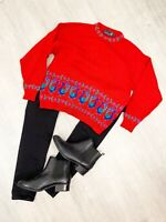 Tulchan Red Peacock Jumper Pull Over Long Sleeve Size Medium Casual