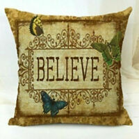 Believe Vintage Cotton Linen Home Decor Throw Pillow Case Sofa Cushion Cover