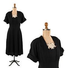 Vintage 40s Black Rayon Crepe Structured Floral Lace Art Deco Evening Dress L