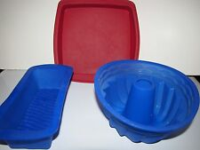 Silicone Bakeware 3 Pieces 1980s Bundt Cake Pan a Loaf Pan and a Square 9X9 Pan