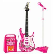 Kids MP3 Player Electric Guitar Microphone Amp Portable Karaoke Machine Set Pink