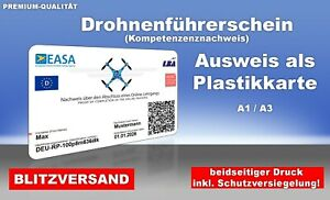 EU Drohnenführerschein A1/A3 Plastikkarte, Scheckkartenformat, Kompetenznachweis