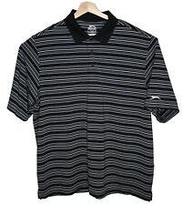 Slazenger Mens Golf Shirt Collared Polo Striped Black XL