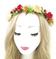 Weihnachten Rose Blume Haar-krone Stirnband Rot Pfirsich Beeren Gold Girlande