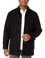 Cole Haan 168037 Mens Casual Wool Blend Coat Jacket Bib Solid Black Size Large