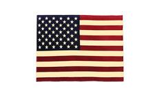 Vintage Oversized USA Flag Throw Blanket, Red Cream Blue, American Home Decor