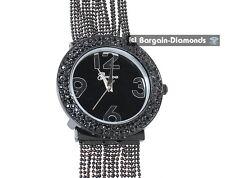 ladies elegant black designer-style fashion dress watch white crystals bead