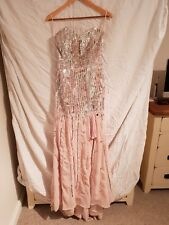 baby pink crystal and sequin formal dress