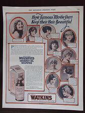 1920 Watkins Mulsified Cocoanut Oil Shampoo 10 Movie Stars Original Print Ad