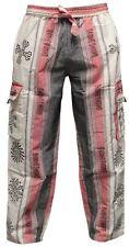 Mens Patchwork Cargo Pockets Hippie Trousers Festival Casual Combat Hippy Pants