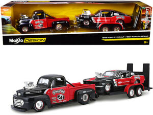1948 Ford F-1 Pickup Truck #48 with 1967 Ford Mustang GT and Flatbed Trailer