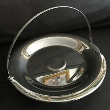 Vintage Compact Polished English Steel Cake/Serving Dish With Foldable Handle