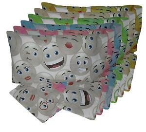 Completo letto lenzuola 100% cotone singolo una piazza sotto sopra federa smile