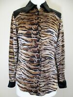 Vintage Cache Top Shirt Size 4 Women black brown animal print silk leather trim