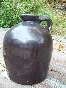 Antique Stoneware Brown Glazed Whiskey Cider Jug Crock Pottery Handle Spout