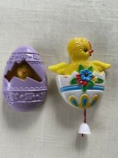 2 Vtg Plastic Easter Pins ~ Avon Chick-A-Peep & Chick In Egg w/ Pull String