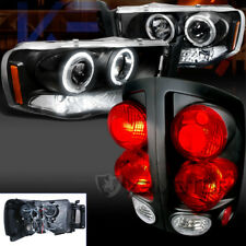 Dodge 02-05 Ram 1500 Black LED Halo Projector Headlights+3D Tail Lamps Pair