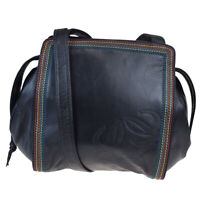 Auth Loewe Women's Leather Shoulder Bag Navy 09FB505