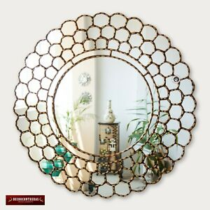 """Large Gold Round Wall Mirror 31.5"""" from Peru, Gold leaf wood framed mirror Wall"""