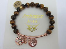 GENUINE TIGER'S EYE BRACELET Live Laugh Love STERLINA MILANO MESSAGE/SENTIMENTS