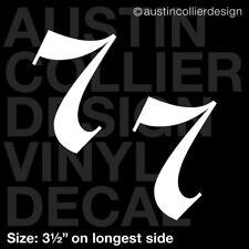 "Set of 2 * 3.5"" NUMBER 7 vinyl decal car window laptop sticker - lucky charm"