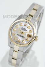Rolex Ladies Datejust Gold & Steel White MOP Diamond & Fluted Oyster Two Tone
