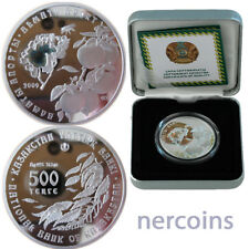 Kazakhstan 2009 Flowers Almaty Aport Hologram 500 Tenge 1 Oz Proof Silver Coin