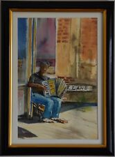 Original Watercolour Painting - The Accordion Player