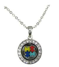 Autism Awareness Circle Crystal Puzzle Logo Domed Silver Chain Necklace Gift
