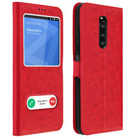 Double window flip standing case for Sony Xperia 1, TPU shell - Red