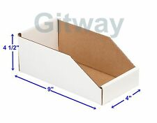 "50 - 4"" X 9"" x 4 1/2"" Corrugated Cardboard Open Top Storage Parts Bin Bins Boxes"