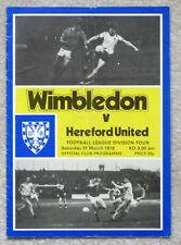 WIMBLEDON v HEREFORD UNITED 1978-1979