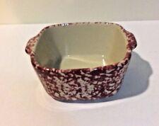 Henn Pottery Cranberry Spongeware Small Casserole Baker Stoneware