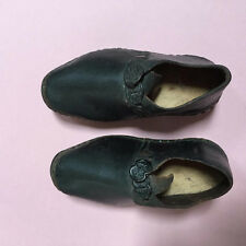 Antique 1800's tiny childrens handmade brown leather clog shoes