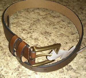 Boys Genuine Leather Belt w/ Polished Brass Buckle!! B4517