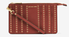 New Michael Kors Brooklyn Medium Grommet Suede and Leather Wristlet 32F6ABHW2S