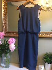 H&M Trend Bodycon Wiggle Dress V Back Navy Size 8 Occasion Wedding