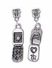 1PC Cell Phone Flip Mobile Telephone Dangle Charm for Silver European Bracelets