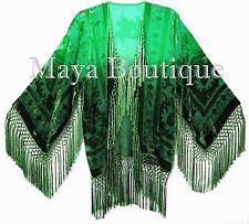 Wearable Art Velvet Kimono Jacket Hand Dyed Emerald & Jade Short Maya One Size