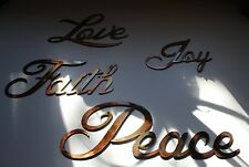 Joy Peace Love Faith Words Metal Wall Art Accents Copper/Bronze