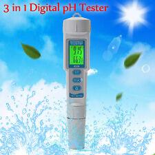 3 in1 Pocket Digital Ph Meter Tester Hydroponics Pen Aquarium Pool Water Test